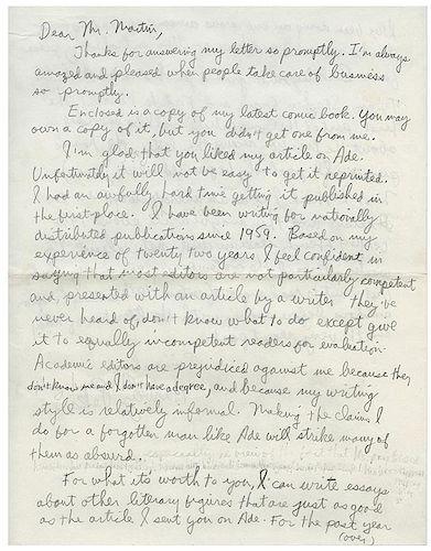 Pekar, Harvey. Autographed Letter Signed
