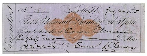 Clemens, Samuel L. (Mark Twain). Signed Check to His Brother, Orion Clemens.