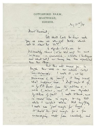 Milne, A.A. Autographed Letter Signed to a Closer Friend.