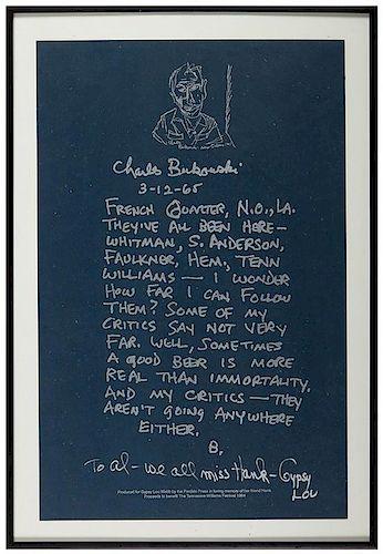 Bukowski, Charles. Poster. Charles Bukowski. 3-12-65.
