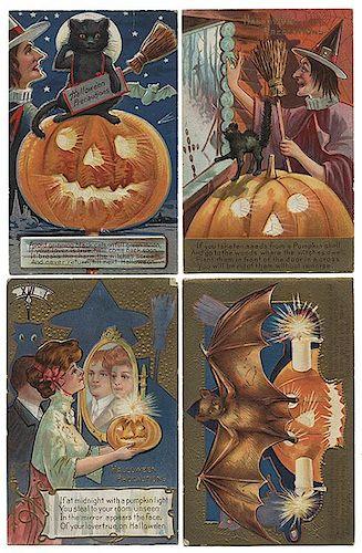 Sixteen Halloween Postcards.