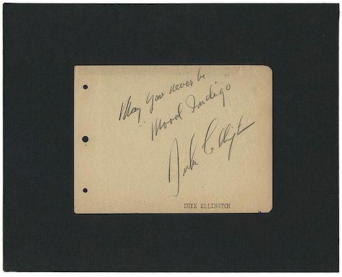 Ellington, Duke. Autographed Note Signed.