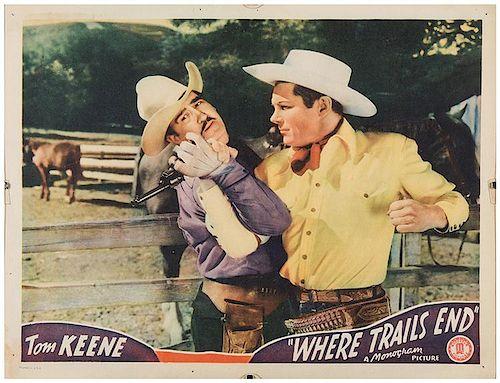 [Film] Keene, Tom. Lobby Card for Film Where Trails End