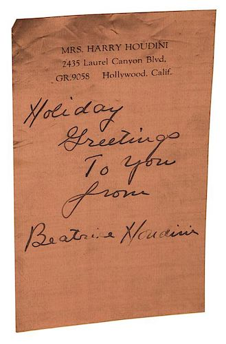[Magic] Houdini, Beatrice. Autographed Note Signed