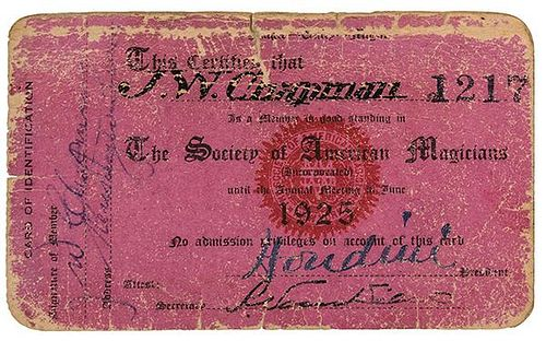 Houdini, Harry. Signed 'Society of American Magicians' Membership Card
