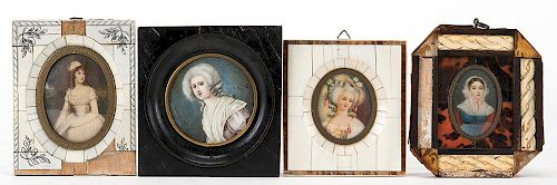 A Group of Four Hand-Painted Miniature Portraits. Mid-nineteenth century.