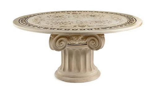 * An Italian Mosaic Table Diameter of top 65 1/2 inches.