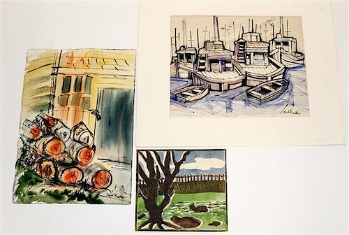 Karl Knaths, (American, 1891-1971), Exterior Scenes (a group of three works)