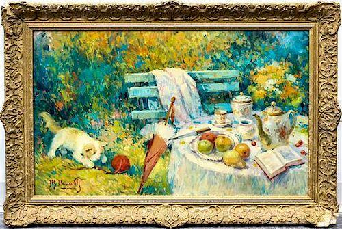 Jos Pauwels, (Belgian, 20th century), Tea in the Garden
