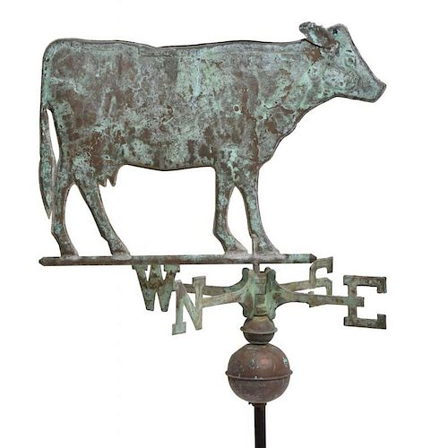 19TH C. COPPER COW WEATHER VANE WITH DIRECTIONALS