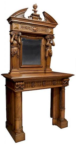 SIGNED FRENCH FIGURAL CARVED FIREPLACE SURROUND