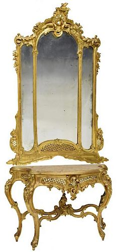 MONUMENTAL LOUIS XV STYLE CONSOLE TABLE & MIRROR