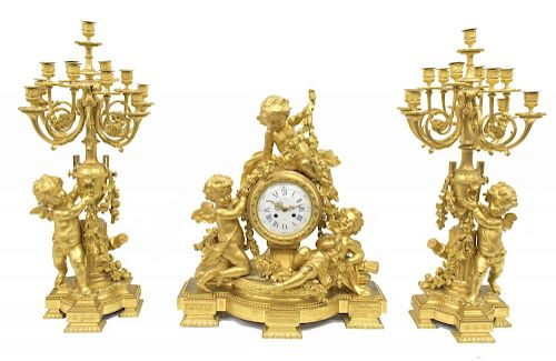 (3) MONUMENTAL DORE BRONZE CHARPENTIER CLOCK SET