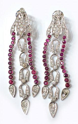 (PR) ANTIQUE PLATINUM, DIAMOND & RUBY EARRINGS