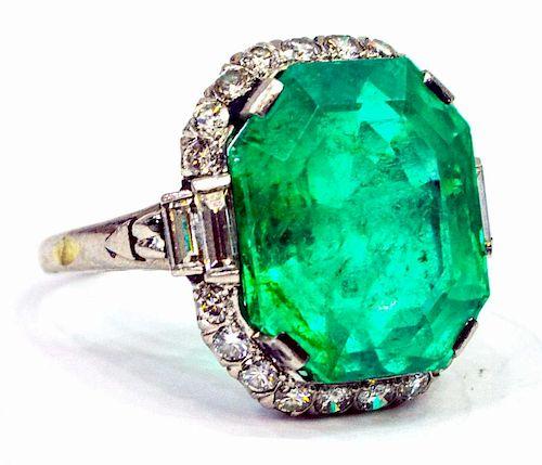 ESTATE PLATINUM, DIAMOND & 12CT EMERALD RING