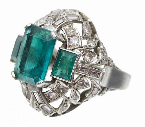14KT WG, EMERALD & DIAMOND ESTATE COCKTAIL RING