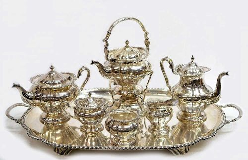 (7)OVERSIZED MEXICO C.1950 CUSTOM STERLING TEA SET
