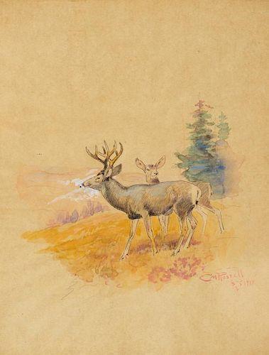 CHARLES M. RUSSELL (1864-1926), Deer (1917)