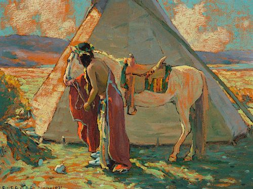 EANGER IRVING COUSE (1866-1936), Indian Camp [or] Sunlight (1931)