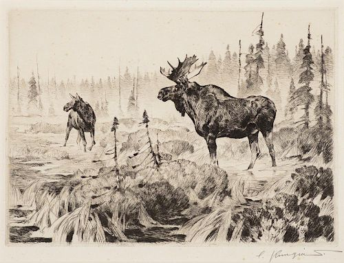 CARL RUNGIUS (1869-1959), Near Long Lake; The Traveler; Lord of the Canyon
