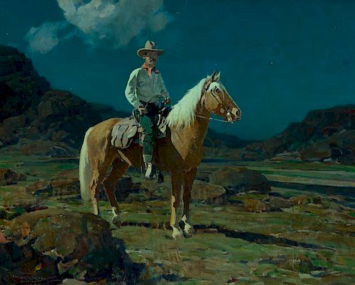 FRANK TENNEY JOHNSON (1874-1939), Moonlight on the Ranch (1925)