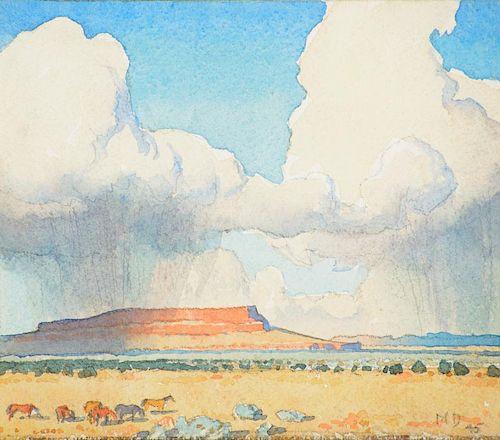 MAYNARD DIXON (1875-1946), Rain on the Mesa (1945)