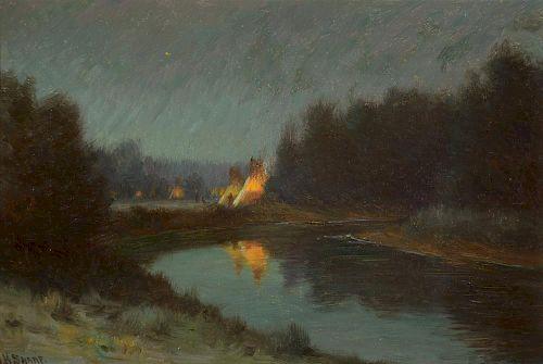 JOSEPH H. SHARP (1859-1953), Crow Evening