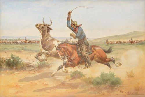 HERMAN W. HANSEN (1854-1924), Cutting Out - Spring Round-Up