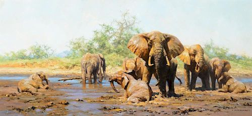 DAVID SHEPHERD (b. 1931), Elephant Heaven (1975)