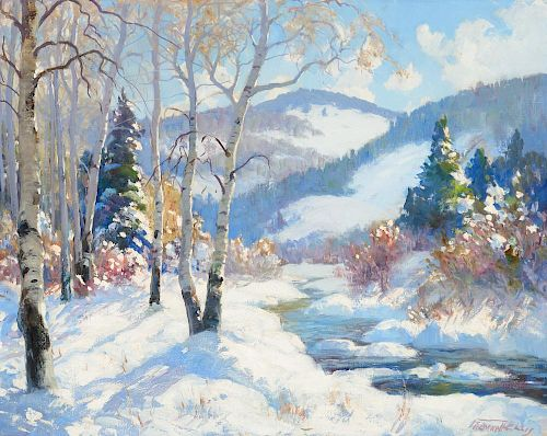 FREMONT ELLIS (1897-1985), Santa Fe Canyon, Winter Haze