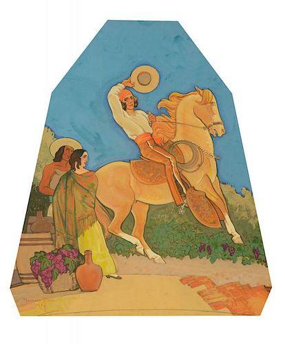 MAYNARD DIXON (1875-1946), Mexican Cowboy mural study (1934)