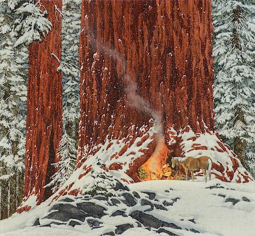 BEV DOOLITTLE (b. 1947), Christmas Day, Give or Take a Week