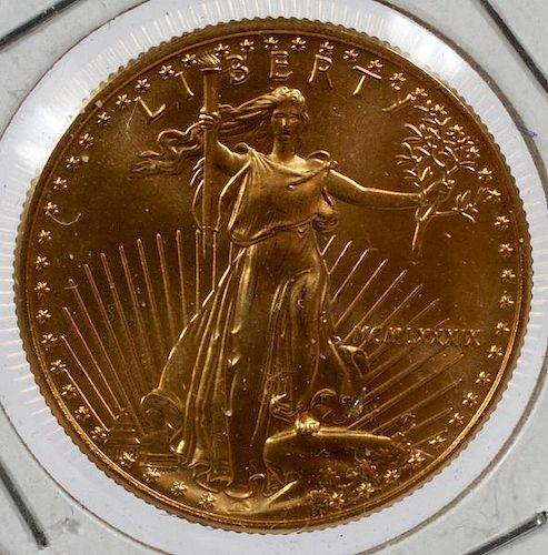 U.S. $25 GOLD COIN STANDING LIBERTY &NESTING-EAGLES
