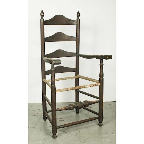 American William and Mary Slat Back Arm Chair, 18th c.