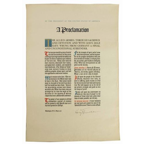 Harry S. Truman (1884-1972) Signed VE Day Proclamation