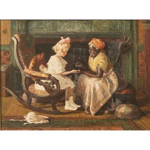 "Harry Roseland (1866-1950) Painting, ""Old Nurses Fortune Telling"""