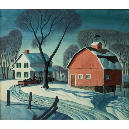 "Dale Nichols (1904-1995) Painting, ""December"""