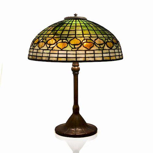 Tiffany Studios Leaded Glass and Bronze Acorn Table Lamp