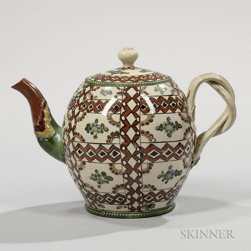 Chintz Pattern Cream-colored Earthenware Teapot and Cover