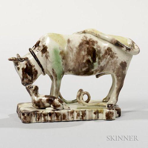 Staffordshire Translucent Glazed Cream-colored Earthenware Bull Group