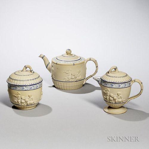 Wedgwood Assembled Three-piece Caneware Tea Set