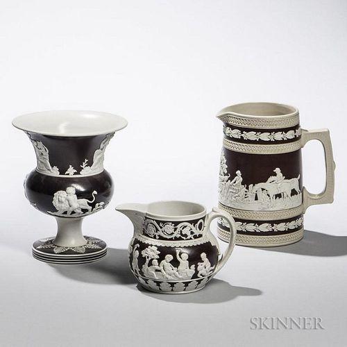 Three Glazed Stoneware Items