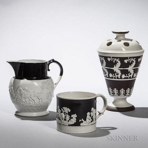 Three White Stoneware Items