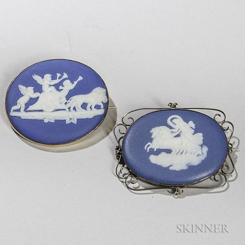 Two Wedgwood Dark Blue Jasper Dip Brooches