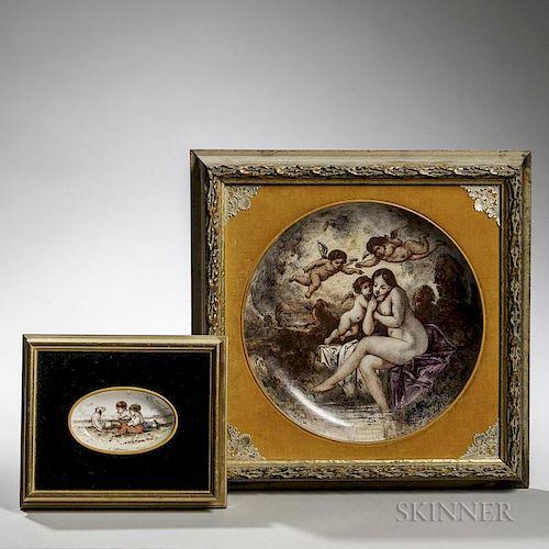 Two Framed Emile Lessore Creamware Items