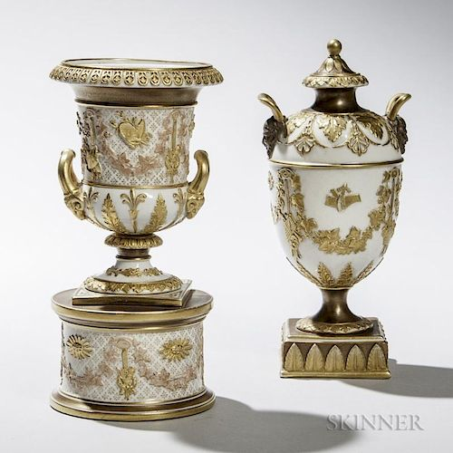 Two Wedgwood Gilded and Bronzed Queen's Ware Vases and Covers