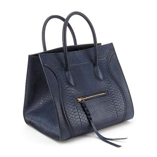 Celine Navy Blue Medium Luggage Phantom Handbag In Full Python. Lot 17.  Prev Lot · Next Lot · item Image 39d4a33605310