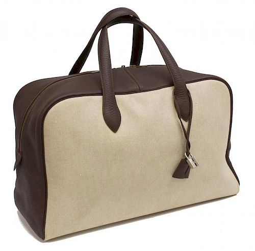 HERMES BROWN LEATHER & CANVAS VICTORIA TRAVEL BAG