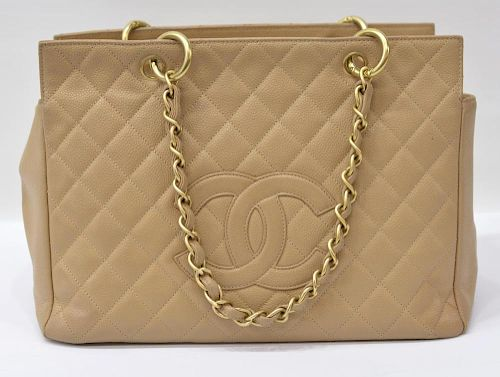CHANEL QUILTED TAN LEATHER PETITE TIMELESS TOTE