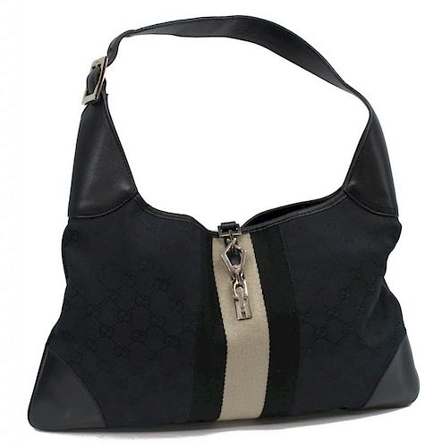 ec78a44f004 GUCCI BLACK MONOGRAM   LEATHER JACKIE BAG by Austin Auction Gallery ...